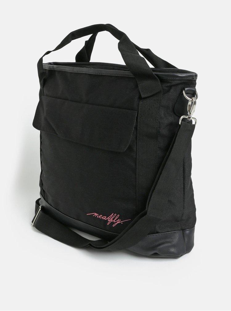 Černá kabelka s kapsou na notebook a odnímatelným popruhem Meatfly Kuna