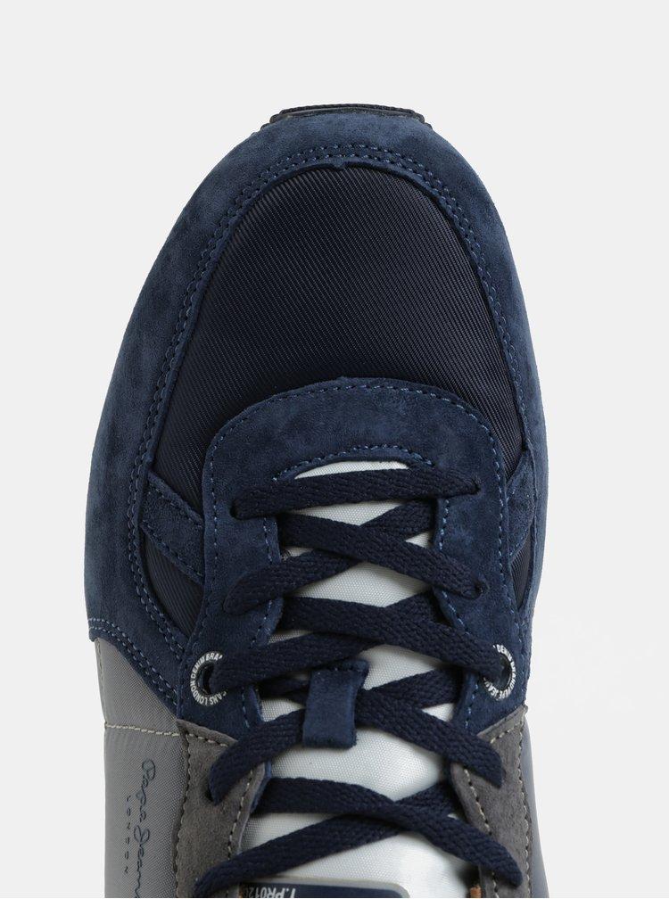 Vínovo-modré pánské tenisky se semišovými detaily Pepe Jeans Tinker