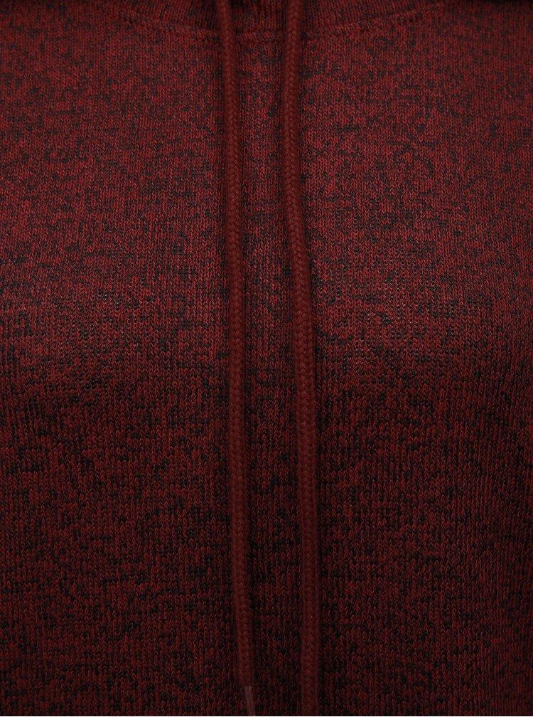Vínový melírovaný tenký sveter s kapucňou Noisy May Mango