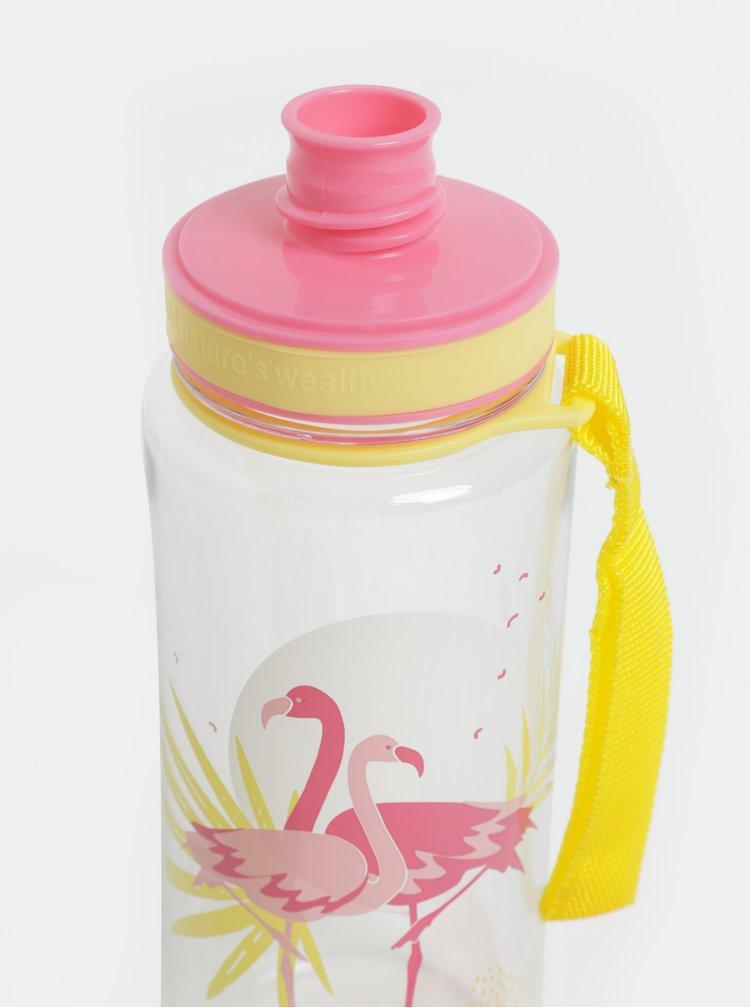 Plastová láhev s motivem plameňáků EQUA 600 ml