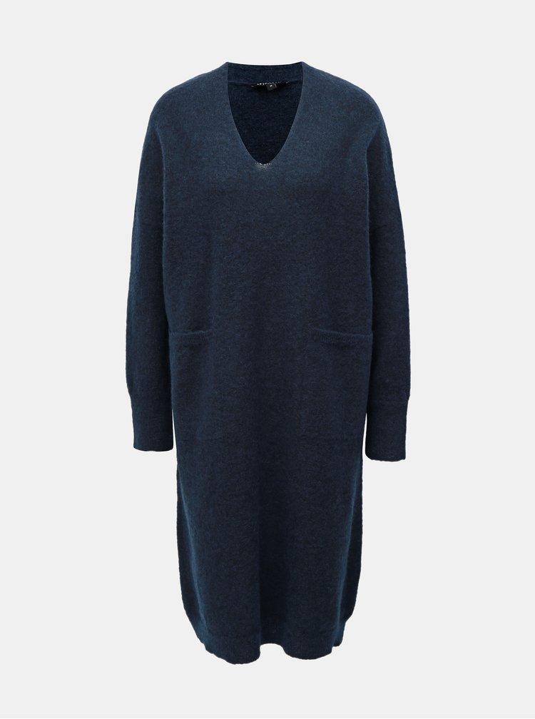 Tmavě modré svetrové šaty s příměsí vlny a mohéru Selected Femme Flivana