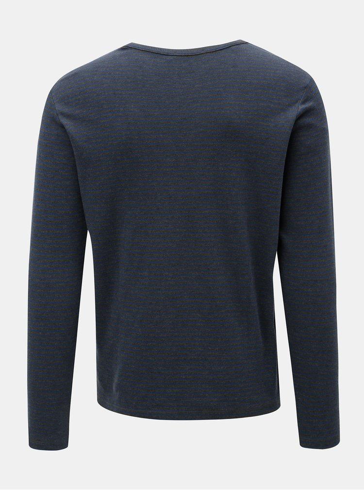Modro-šedé pruhované tričko s dlouhým rukávem Selected Homme Hedwin
