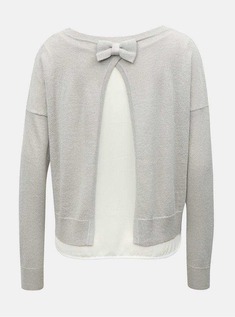 Šedý třpytivý svetr s všitým dílem a rozparkem na zádech ONLY Darling
