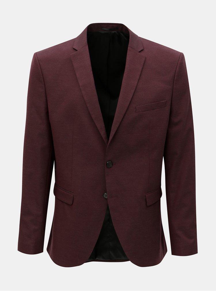 Vínové oblekové sako Selected Homme