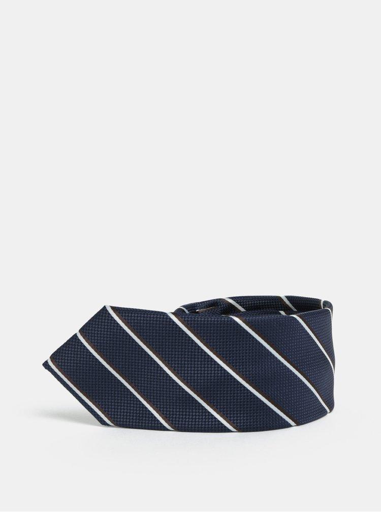 Tmavomodrá pruhovaná slim kravata Selected Homme Valdemar