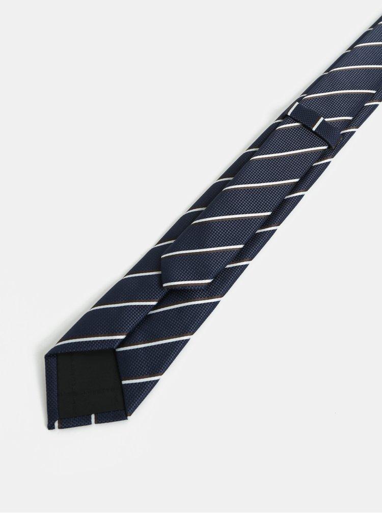 Tmavě modrá pruhovaná slim kravata Selected Homme Valdemar