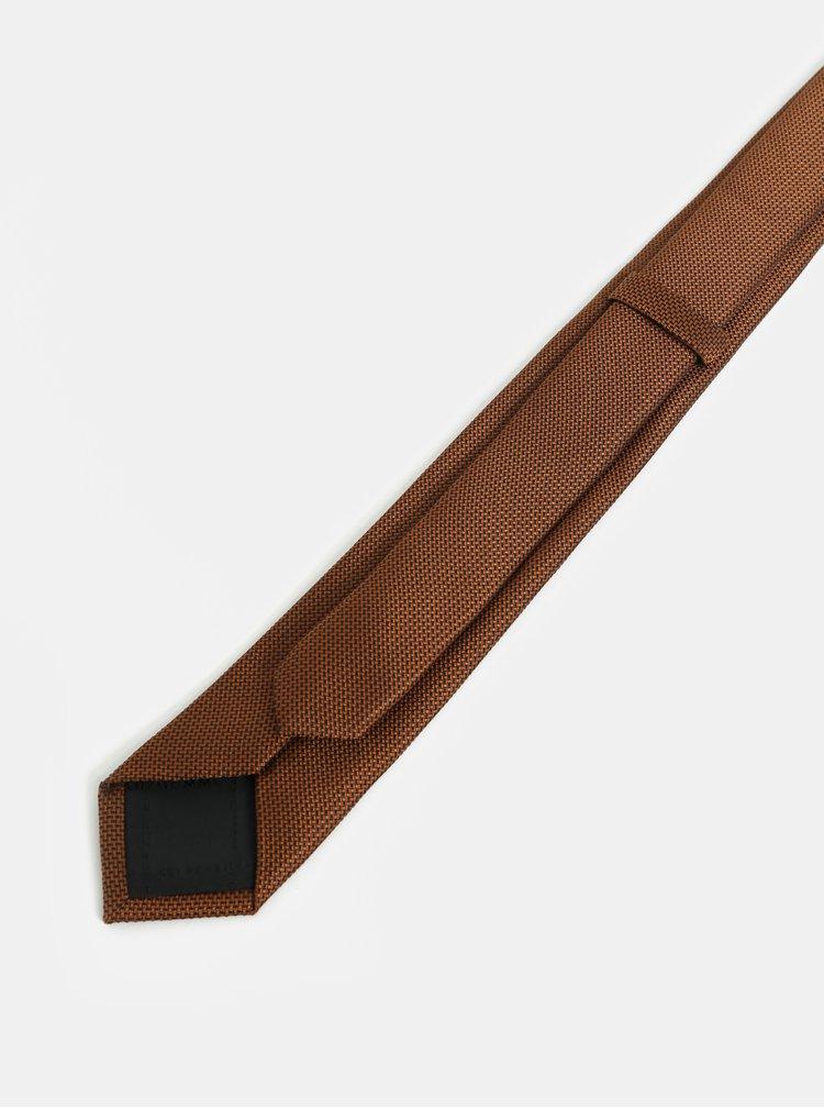 Hnědá vzorovaná slim kravata Selected Homme Valdemar