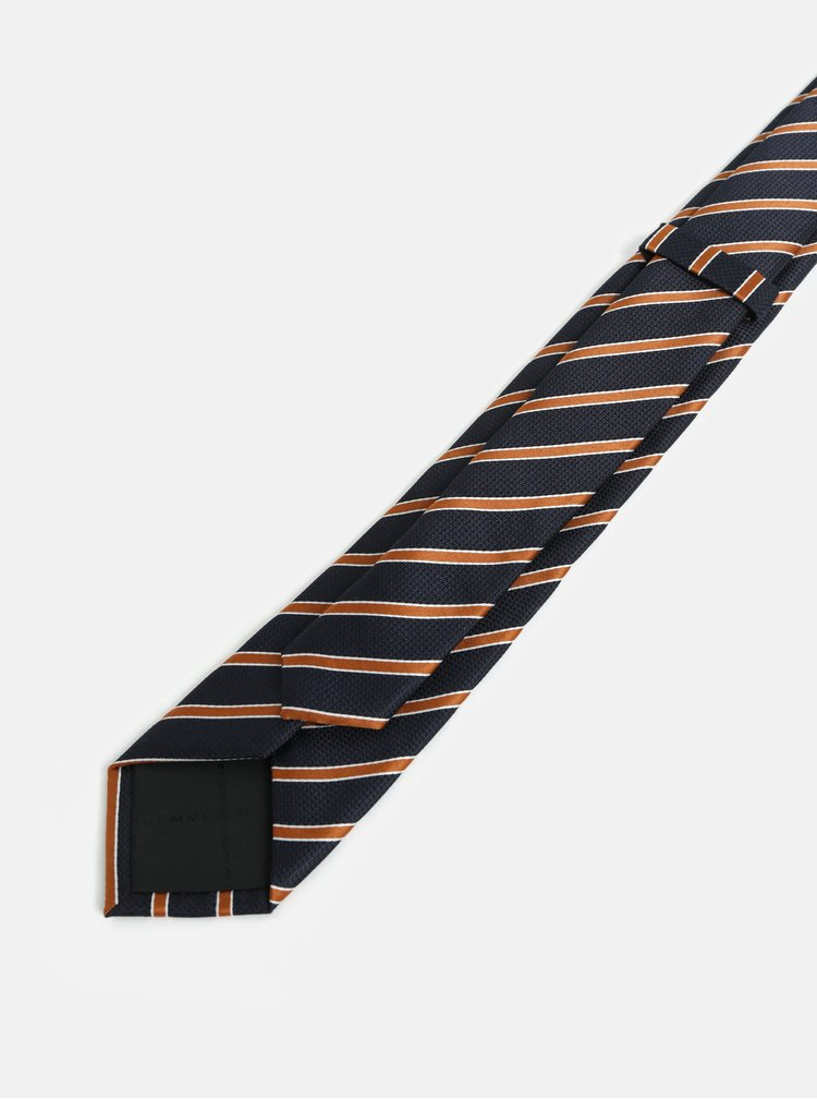 Oranžovo-modrá pruhovaná slim kravata Selected Homme Valdemar