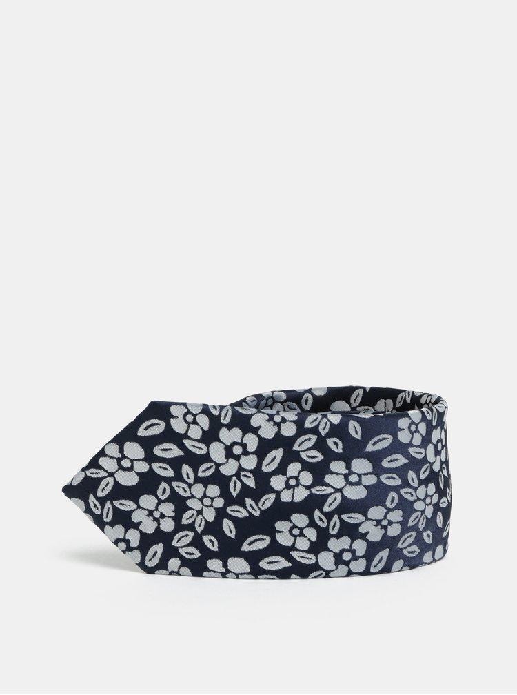 Bílo-modrá květovaná slim kravata Selected Homme Vilhelm