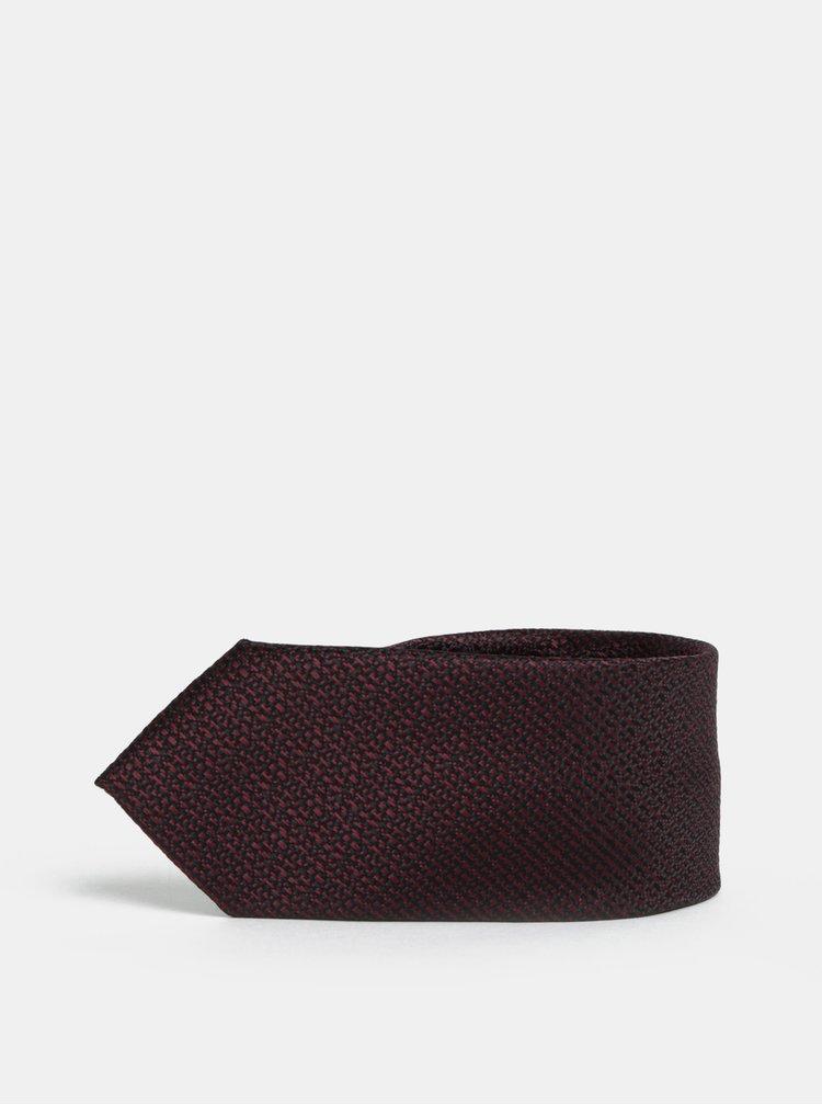 Vínová vzorovaná slim kravata Selected Homme Vilhelm