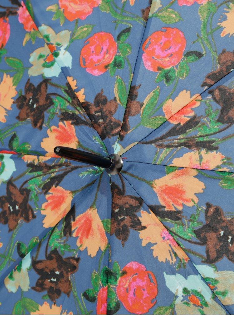 Modrý vystřelovací květovaný deštník Rainy Seasons