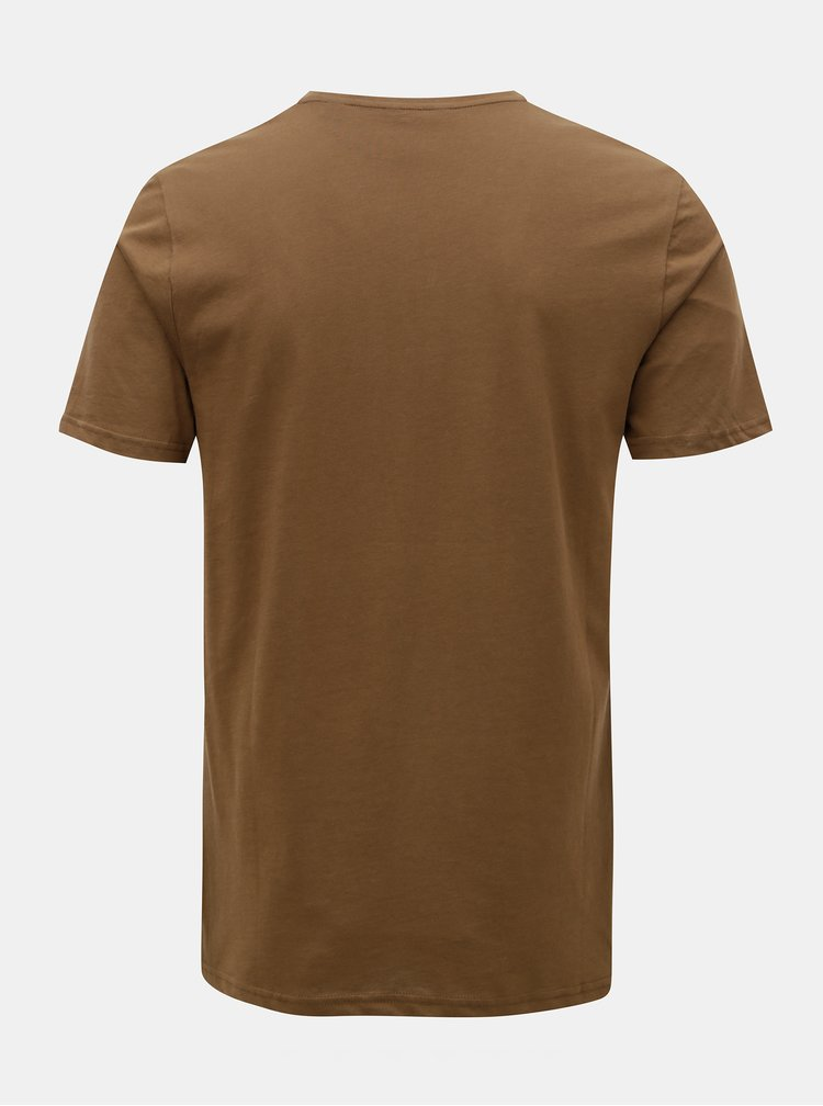 Hnědé tričko s potiskem ONLY & SONS Gideon