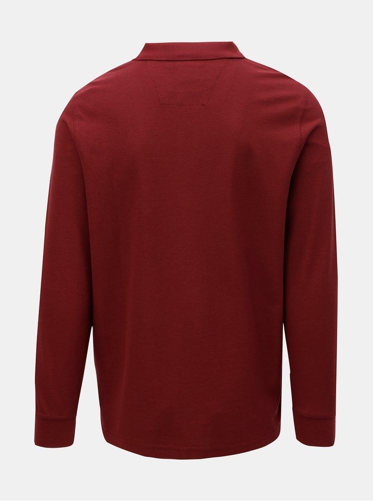 Vínové basic polo tričko s dlouhým rukávem Fynch-Hatton