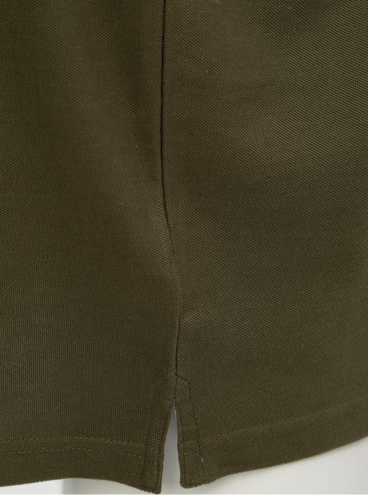 Khaki polo tričko s dlouhým rukávem Fynch-Hatton