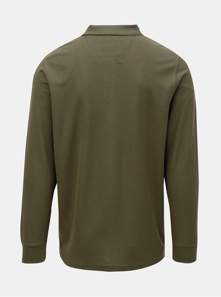 Khaki basic polo tričko s dlouhým rukávem Fynch-Hatton