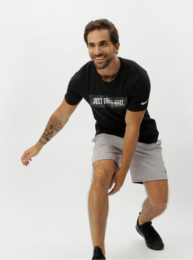 Černé pánské funkční tričko Nike Block Camo