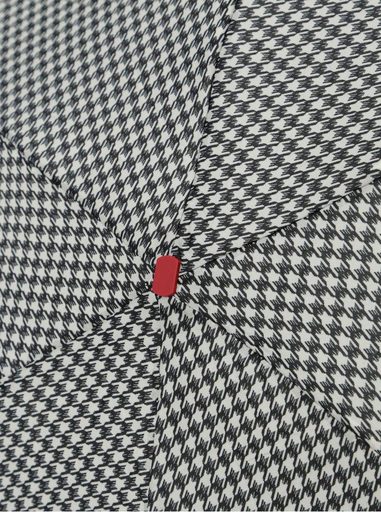 Krémovo-černý skládací vzorovaný deštník Rainy Seasons