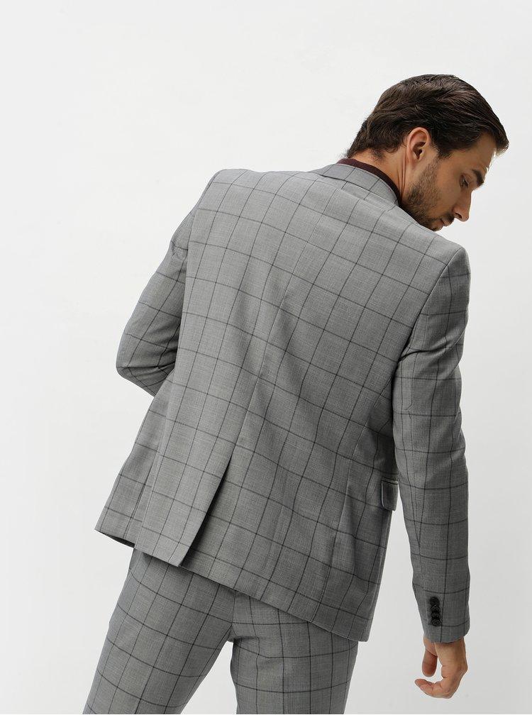 Šedé skinny fit kostkované sako Burton Menswear London