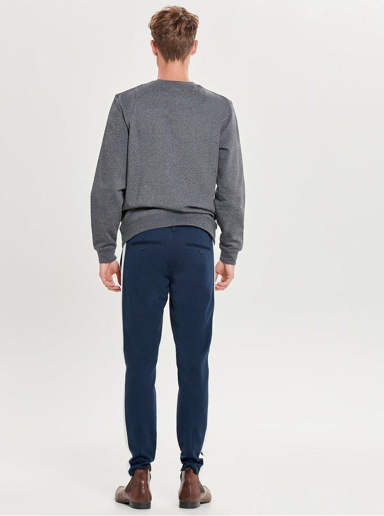 Tmavě modré kalhoty s pruhy na bocích ONLY & SONS Mark Stripe