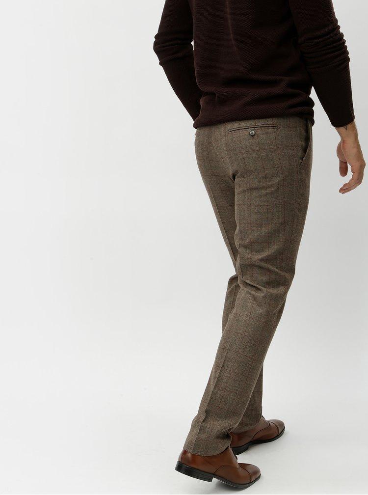 Hnědé kostkované oblekové kalhoty Selected Homme