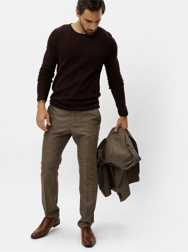 Hnedé kockované oblekové nohavice Selected Homme
