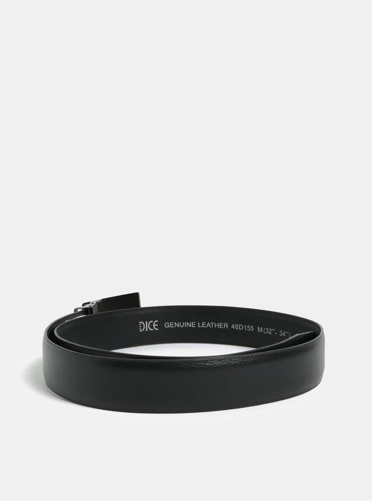 Černý kožený pásek s přezkou ve stříbrné barvě Dice Orleans