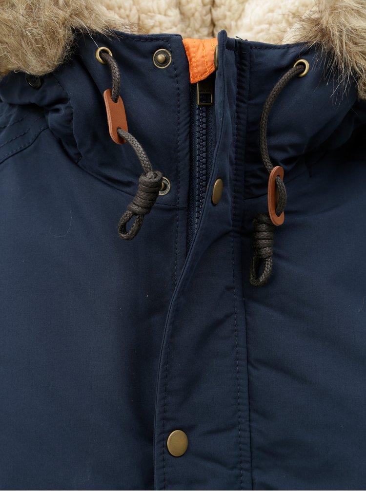 Tmavě modrá zimní parka s umělým kožíškem Jack & Jones Latte