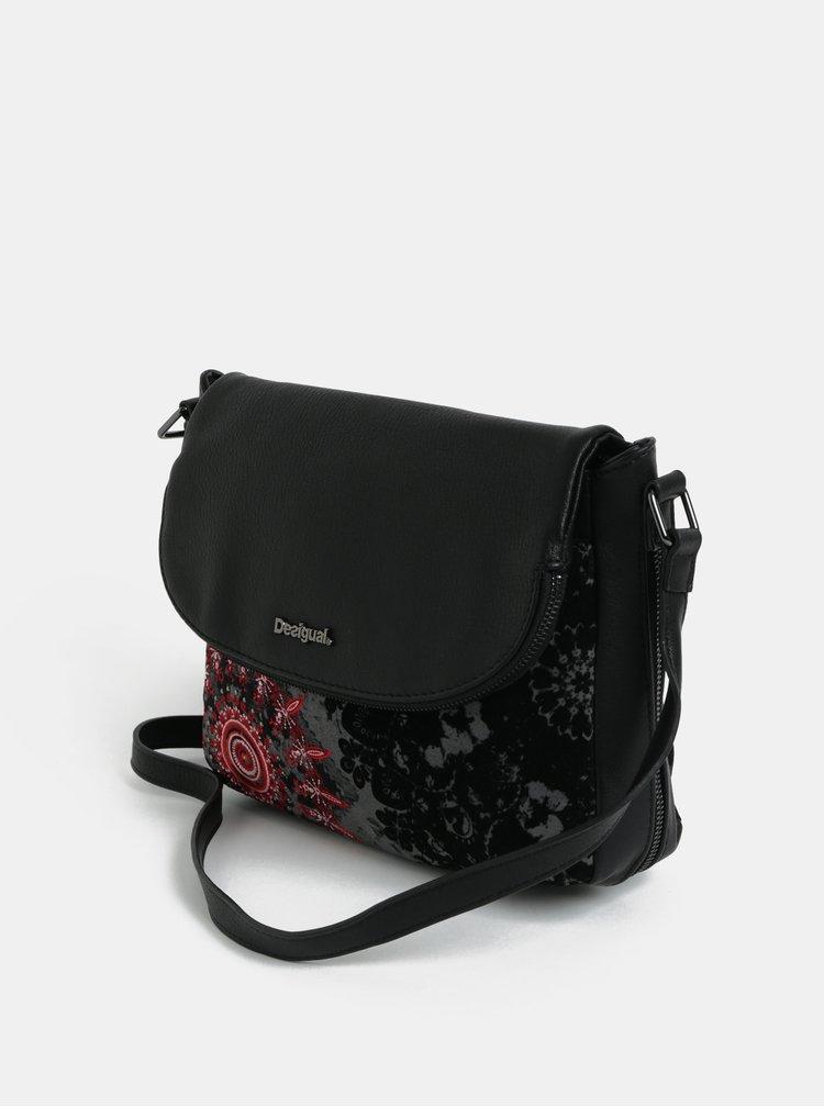 Černá crossbody kabelka s výšivkou Desigual Queen