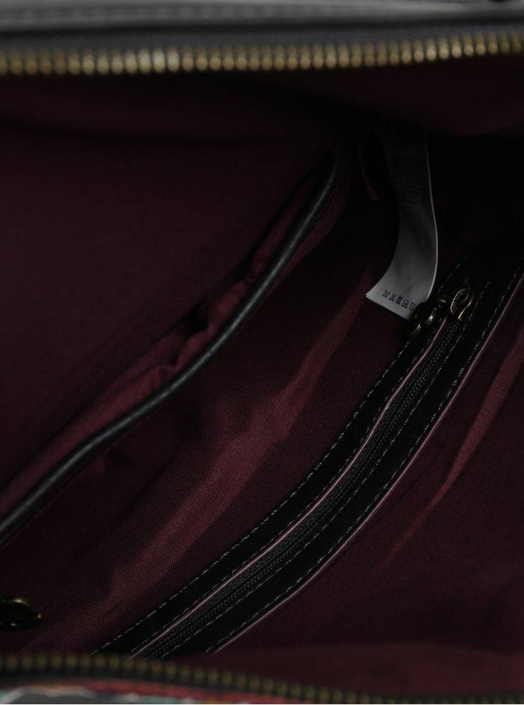 Tmavě hnědá kabelka s výšivkou Desigual Siara