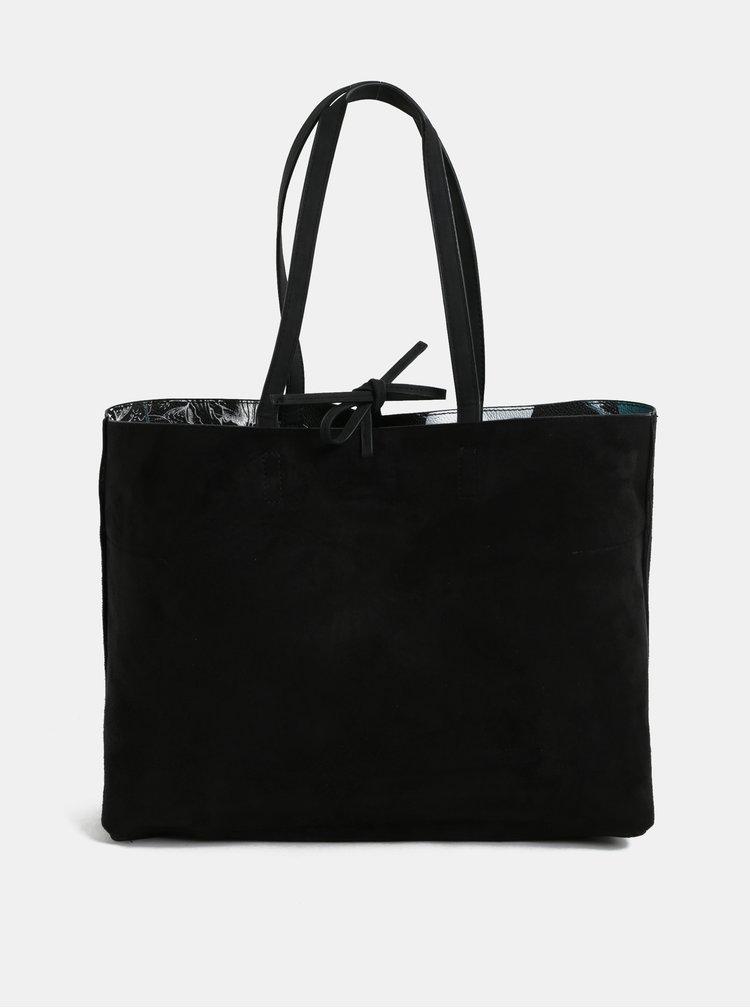 Krémovo-černý oboustranný shopper s psaníčkem Desigual Arcadia