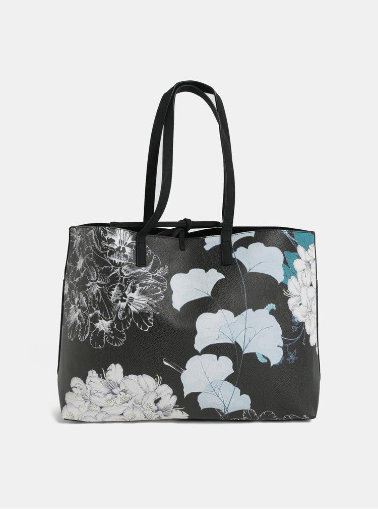 Geanta shopper reversibila crem-negru cu geanta plic Desigual Arcadia