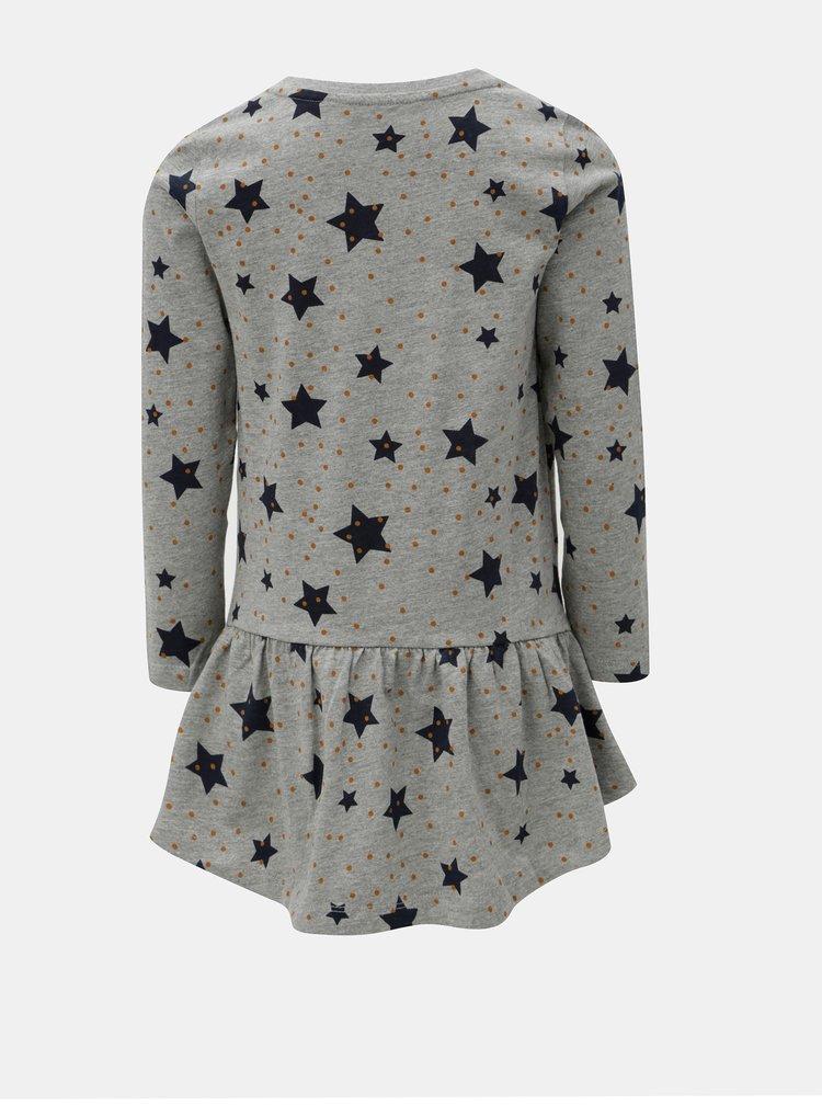 Šedé holčičí mikinové šaty s potiskem Name it Veta
