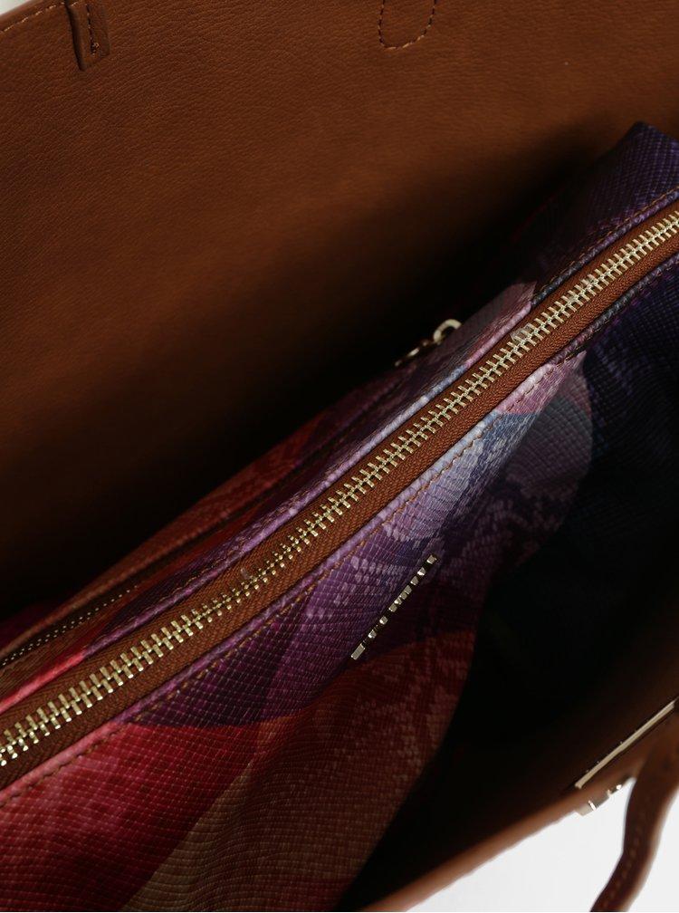 Hnědo-fialový oboustranný shopper s pouzdrem Desigual Mercury