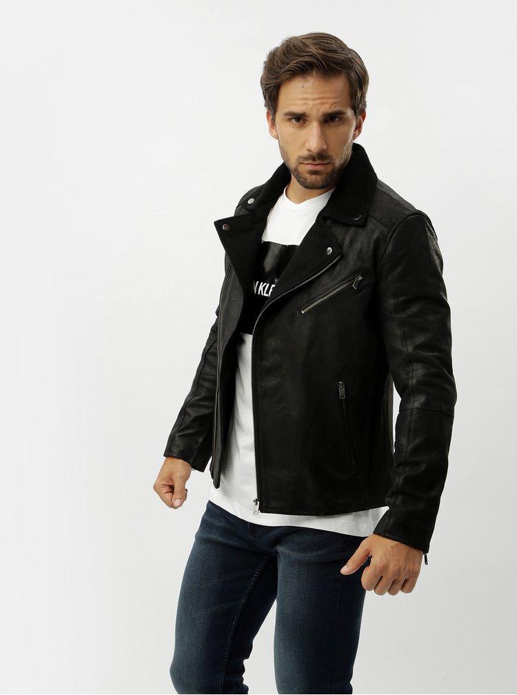 Jacheta biker neagra din piele naturala Selected Homme