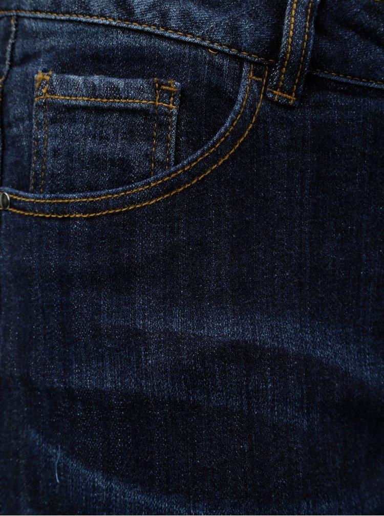 Blugi albastru inchis straight din denim Ulla Popken