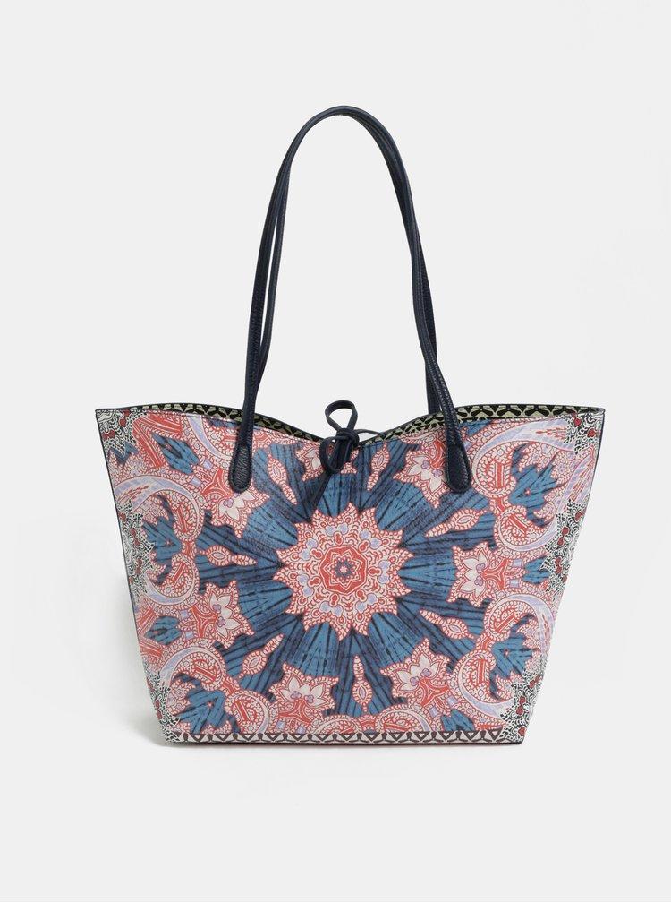 Geanta shopper reversibila roz-albastru cu portofel Desigual Afro