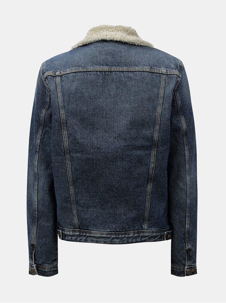 Modrá dámská žíhaná džínová bunda s umělou kožešinou Lee