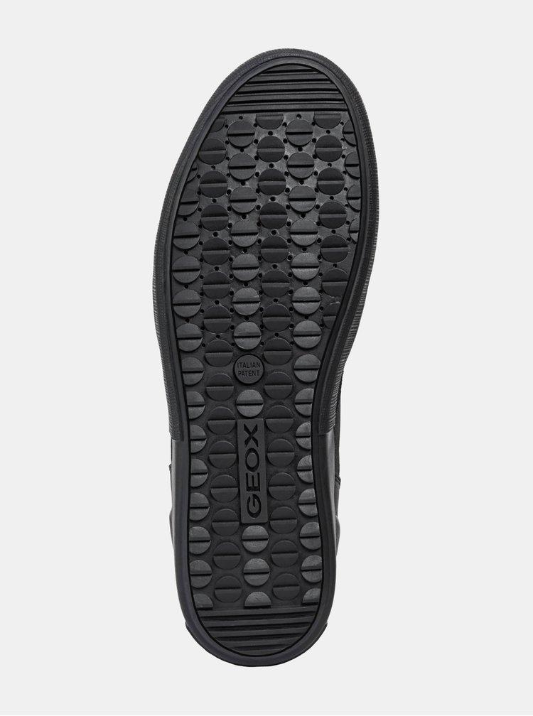 Černé pánské kožené kotníkové tenisky Geox Taiki