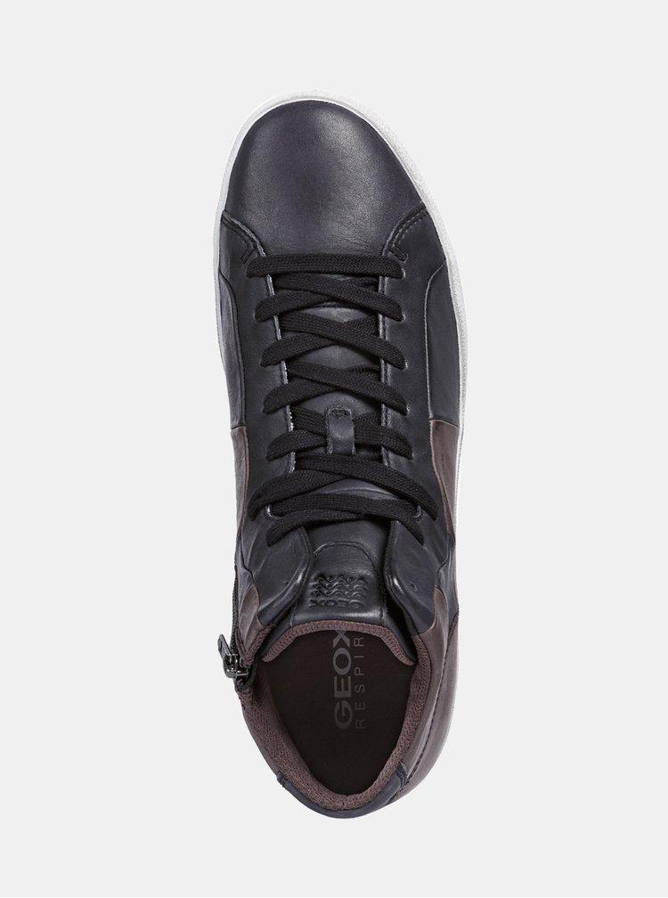 Hnedo-čierne pánske kožené členkové tenisky so zipsom Geox Smart A