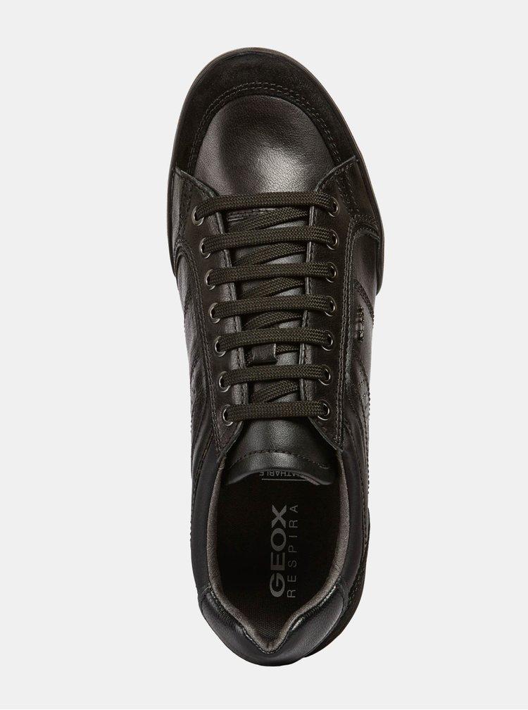 Černé pánské kožené tenisky se semišovými detaily Geox Kristof
