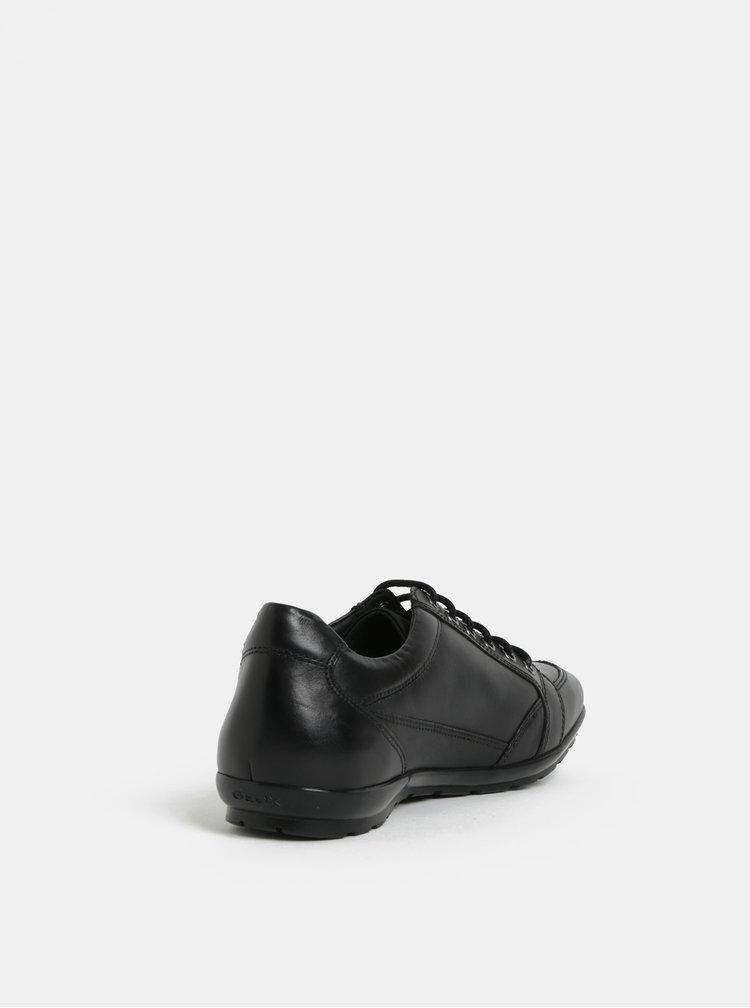 Čierne pánske lesklé kožené tenisky Geox Symbol