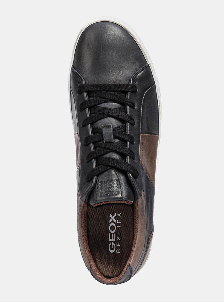 Hnědo-černé pánské kožené tenisky Geox Smart B