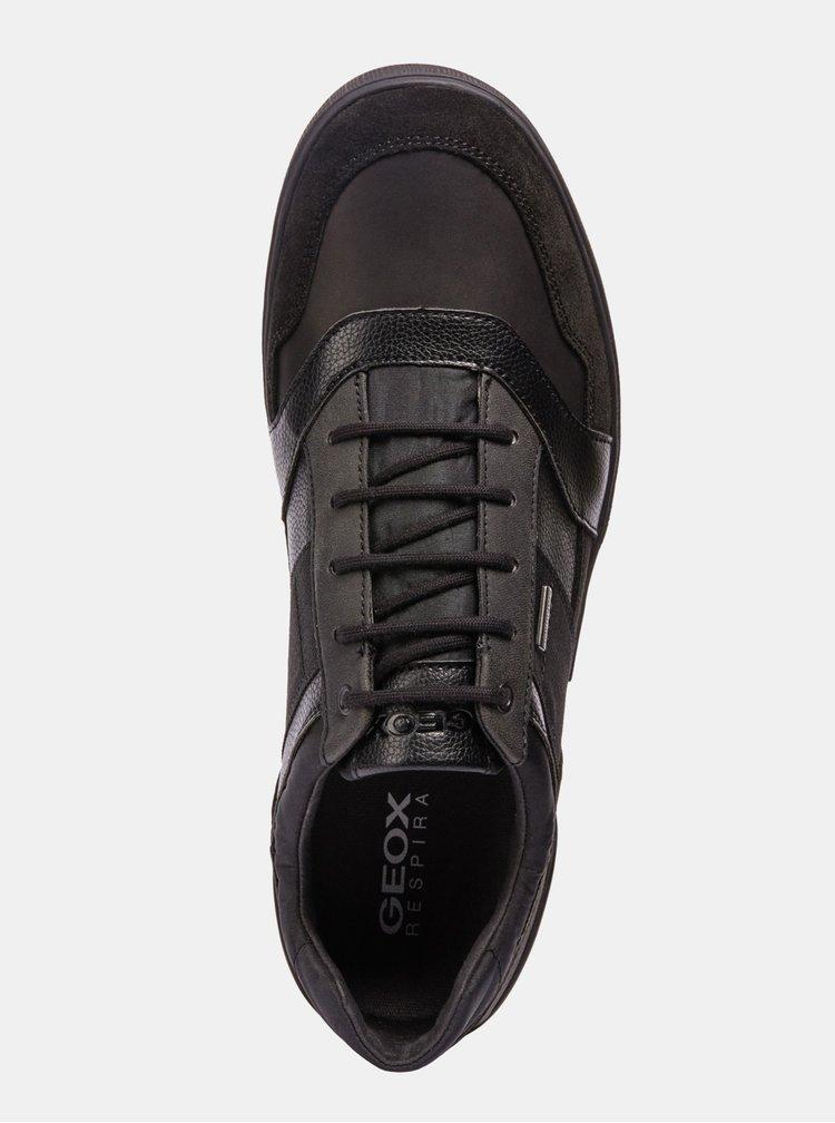 Černé pánské kožené tenisky se semišovými detaily Geox Taiki