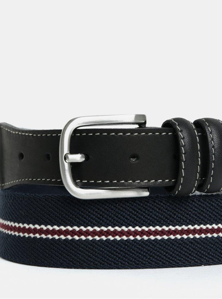 Tmavě modrý pásek s koženými detaily Selected Homme Per