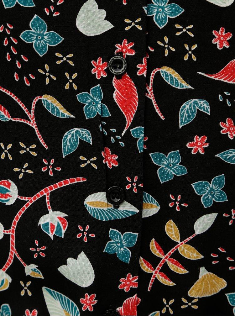 Černé vzorované košilové šaty s páskem Yerse