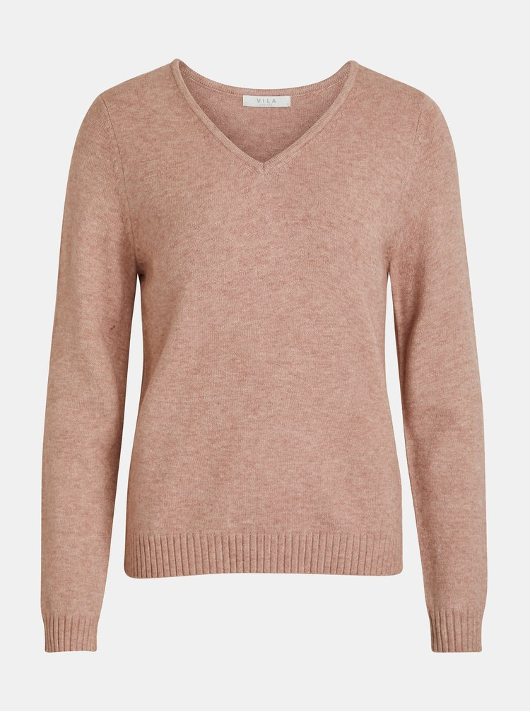 Ružový melírovaný sveter VILA Viril