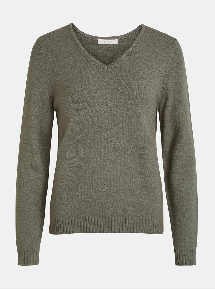 Kaki sveter s véčkovým výstrihom VILA Viril