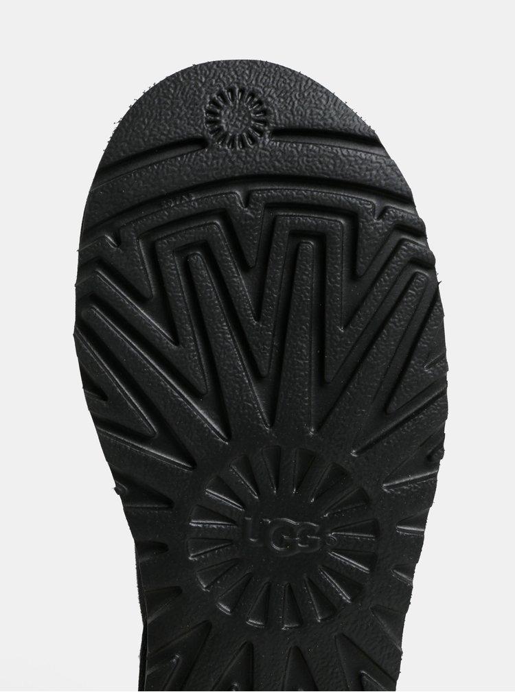 Černé semišové voděodolné kotníkové válenky UGG Button II