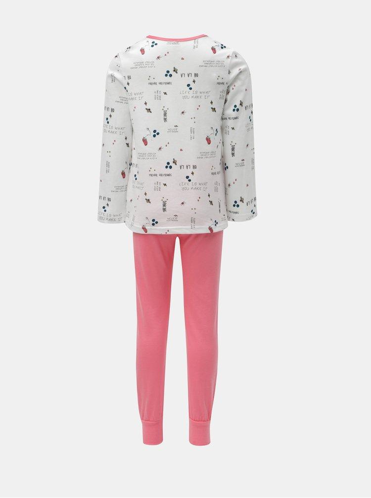 Růžovo-bílé holčičí dvoudílné pyžamo Name it Bublegum