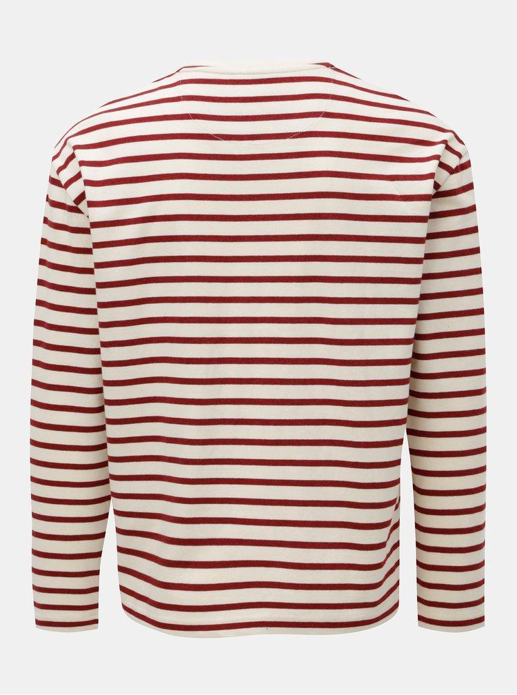 Krémovo-vínové pruhované tričko Farah Bain